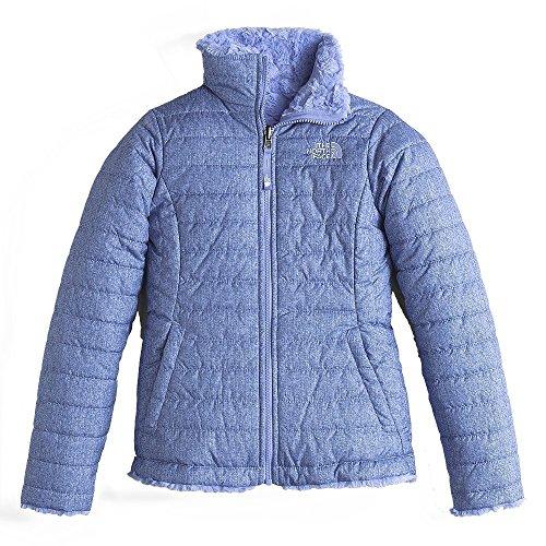 (The North Face Kids Girl's Reversible Mossbud Swirl Jacket (Little Kids/Big Kids) Grapemist Blue Denim Print (Prior Season) XX-Small)