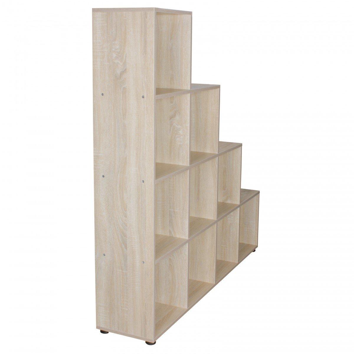 FineBuy Stufenregal Lucia Sonoma Eiche Treppenregal für für für Ordner & Bücher 10 Fächer Holz   Design Raumteiler Regal   Modernes Aktenregal   Bücherregal 4d02c6