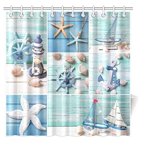 Seashells on Wooden Planks Decorations Shower Curtain, Decorative Lighthouse, Sailing Boats and Marine Items on Wooden Background Fabric Bathroom Decor Set with Hooks(Extra Long 72
