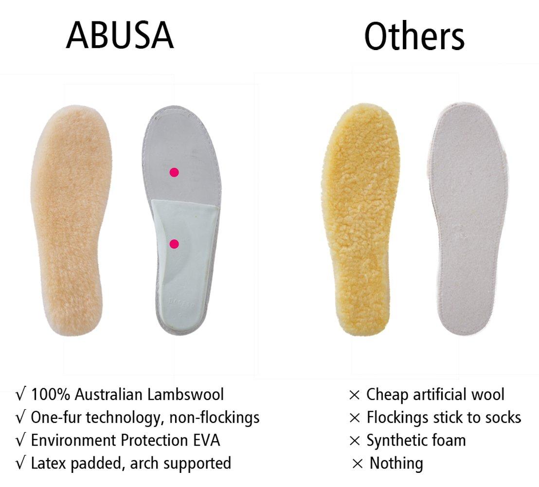 ABUSA Genuine Sheepskin Insoles Men's Premium Think Wool Fur Fleece Inserts Cozy & Fluffy 12 by ABUSA (Image #2)