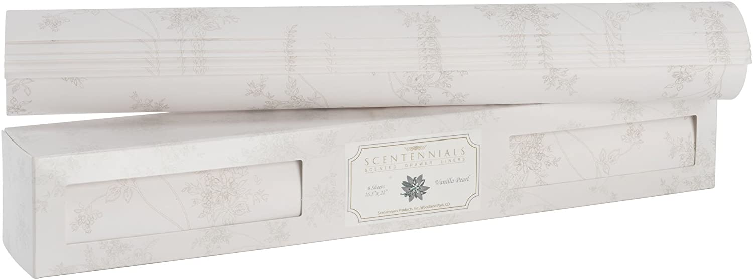 Scentennials Vanilla Pearl (6 Sheets) Scented Drawer Liners