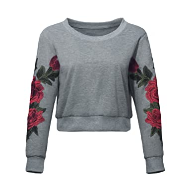 5863be53406 Hinmay Womens Crew Neck Long Sleeve Top Floral 3D Embroidered ...