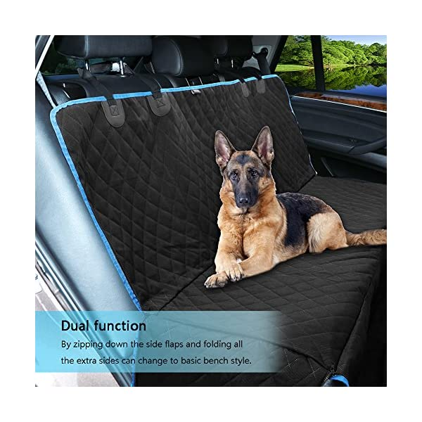 CINOTON Car Dog Seat Covers Pet Mat With Adjustable Seat Anchors Waterproof Machine Washable Non Slip BackingQuilted Padded Dog Hammock For All Cars Trucks SUV Black