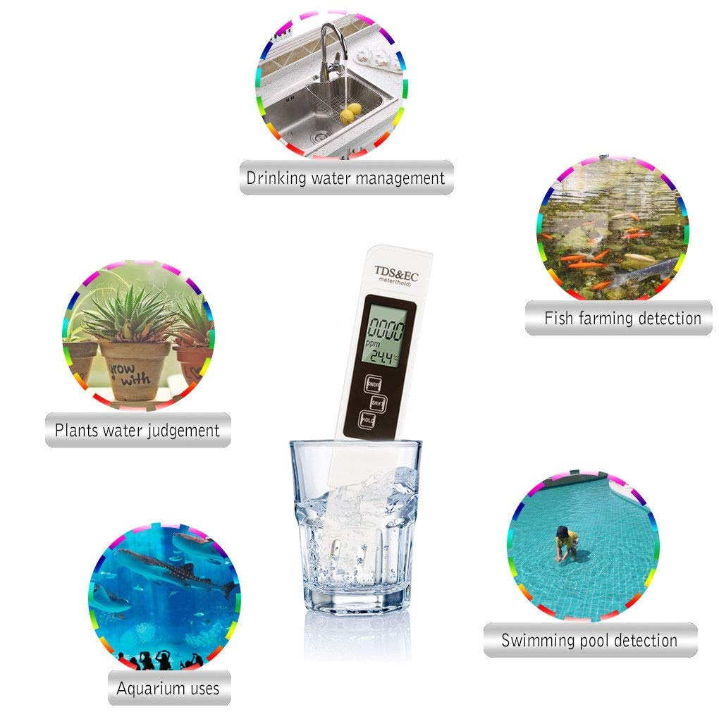 EC /& Temperature Testing Meter For Drinking Water Bio-Lec Health Systems/® TDS Water Quality Tester Ponds Monitoring Swimming Pools Aquarium /& Hydroponics Professional TDS Spas Garden Planting