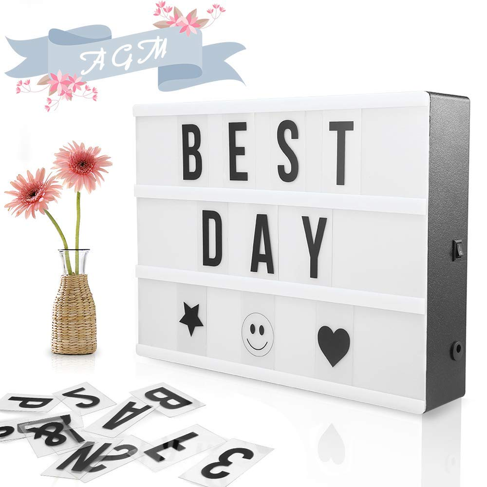 Light Box, Cinematic Light Box, with Letters and Symbols, Customizable for Decoration Wedding, Party, Birthday, Room, Black AGM