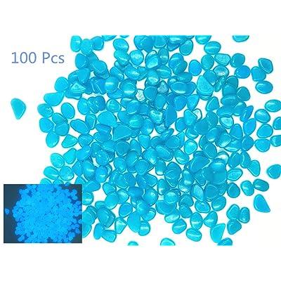 Hayodo Glow in The Dark Garden Pebbles Stone for Walkway Yard and Décor (Blue 100Pcs) : Garden & Outdoor