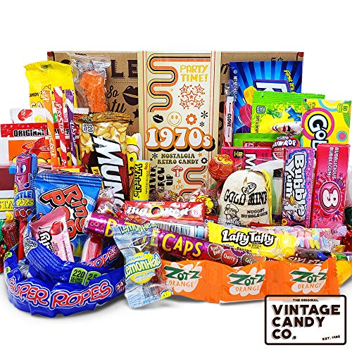 VINTAGE CANDY CO. 1970s RETRO CANDY GIFT BOX - 70s Nostalgia Candies - Flashback SEVENTIES Fun Gag Gift Basket - PERFECT '70s Candies For Adults, College Students, Men or Women, Kids, Teens (Retro Candy Box)