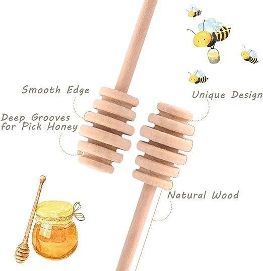 Varilla agitadora 50Pcs//set Hogar de madera Mini mermelada Miel Dipper Tarro Dispensador Recoger Varilla agitadora 10,5 CM