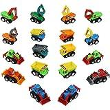Engin Chantier Voiture Jouet, Petites Voitures Miniatures, Lot de 18 Véhicules, Jouet Camion Enfant Garcon Fille 3ans et Plus