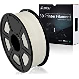 SUNLU 3D Printer Filament PLA Plus White(More Like Transparent), PLA Plus Filament 1.75 mm, Low Odor Dimensional Accuracy +/- 0.02 mm, 2.2 LBS (1KG) Spool, White(More Like Transparent)