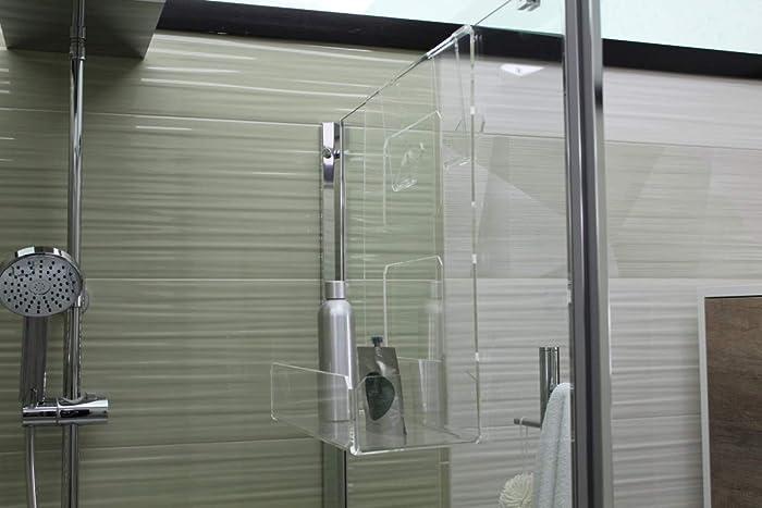 Jabonera de ducha de plexiglás con 2 ganchos para toallas - Estante para ducha - Cesta