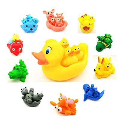 AKDSteel Baby Kids Cute Animal Mummy and 3 Babies Squeaky Floating Bathtub Play Toy Set Random Color Hippo (Random Color) Gifts: Home & Kitchen