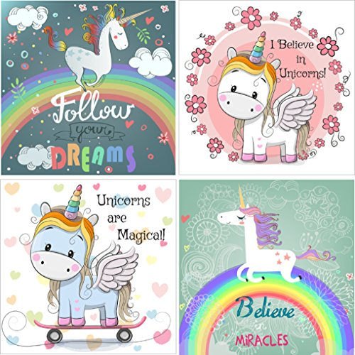 Price comparison product image Unicorn Rainbow Stickers-- Fun Unicorn Gift & Party Favor--24 pack with 4 Uniquely Cute Designs to delight Unicorn Lovers of All Ages