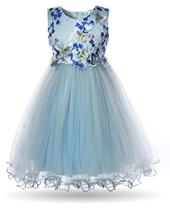 Cielarko Girls Butterfly Dress Embroidery Sleeveless Pageant Birthday Bridesmaid Wedding Party Kids Dresses for 2-