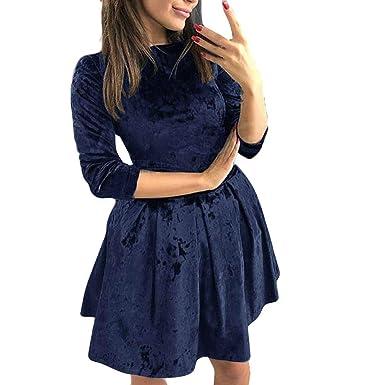 aae638e07c3d Linkay Kleid Damen Kurz Samt Rock Sommer Abendparty Mini Kleider ...