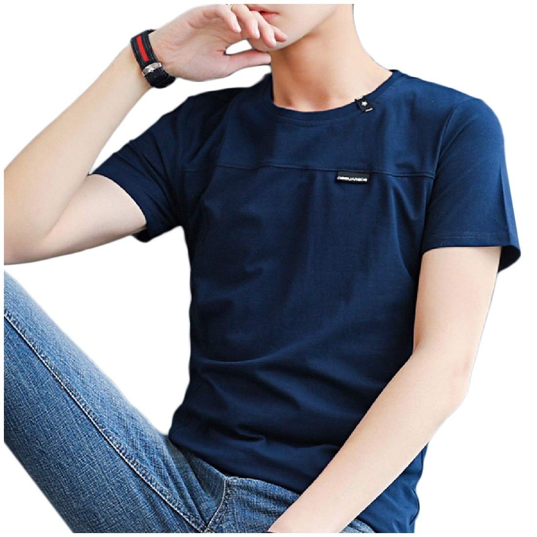 Vska Men Short Sleeves Slim Crewneck Oversized Solid Pullover Tees Top