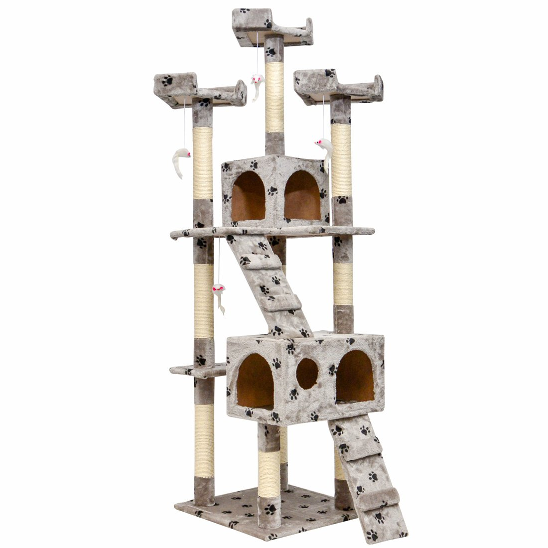 Good Life Cat Tree House Furniture Condo 66'' Tall Pet Play Tower Scratching Post Kitten Toy for Small to Medium Sized Cats Gray Spots Color PET432 by GOOD LIFE USA