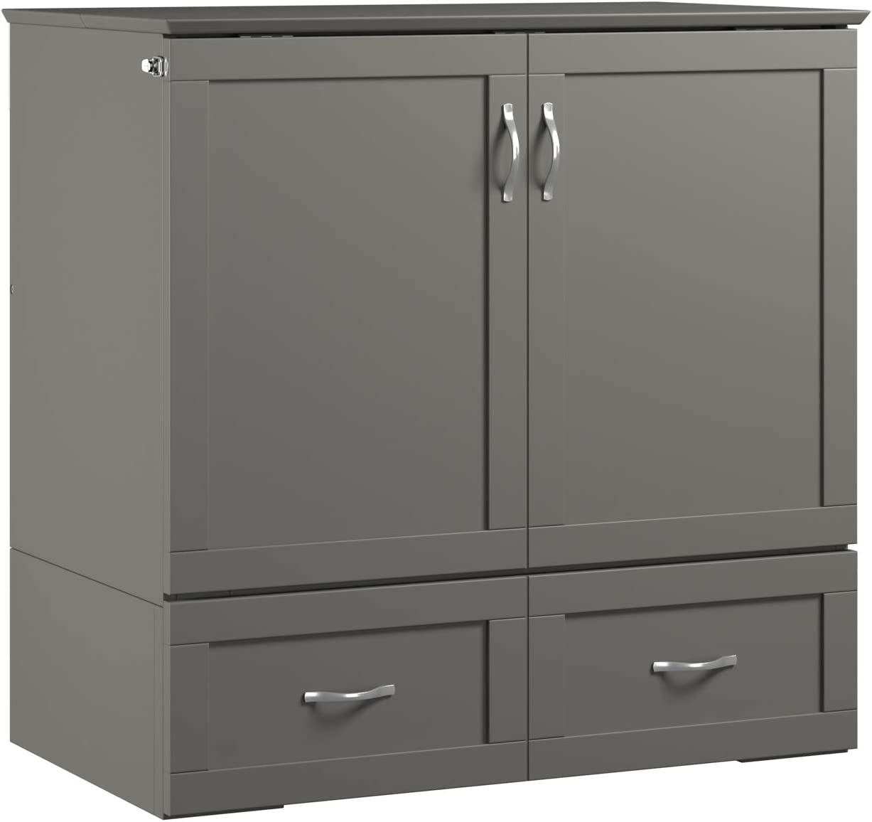Atlantic Furniture Hamilton Murphy Bed Chest with Charging Station, Twin XL, Grey