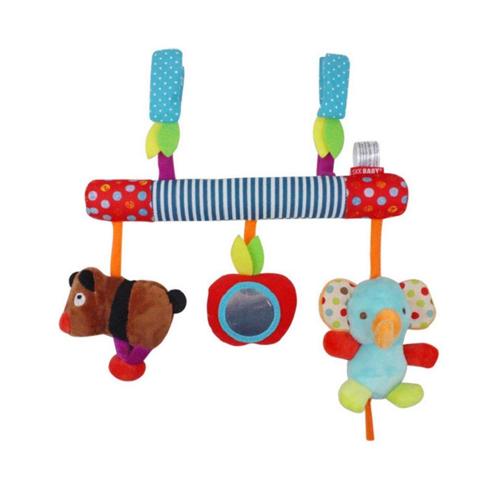 Hemore Baby Spielzeug Geschenke, Nette Tier Baby Plüschtiere,Aktivitätsspielzeug Baby-Multifunktions-Musik Sound Auto Kinderwagen Plüschtier Elefant + Bär 1 Packung Für Babys Kinder