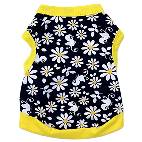 [Dreaman Flowers Cotton Jersey Vest Pet Clothing Yellow (XS)] (Elvis Costumes For Dogs)