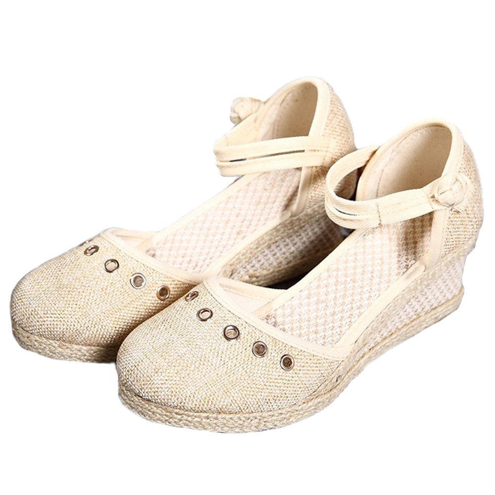 Mode féminine Solides Sandales Solides Mode Wedges Toile Chaussures Party Chaussures Shoes Beige 34ef2ec - conorscully.space