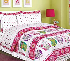 teen tween girls kids bedding 9 piece owl bedding full size comforter set bed in a. Black Bedroom Furniture Sets. Home Design Ideas