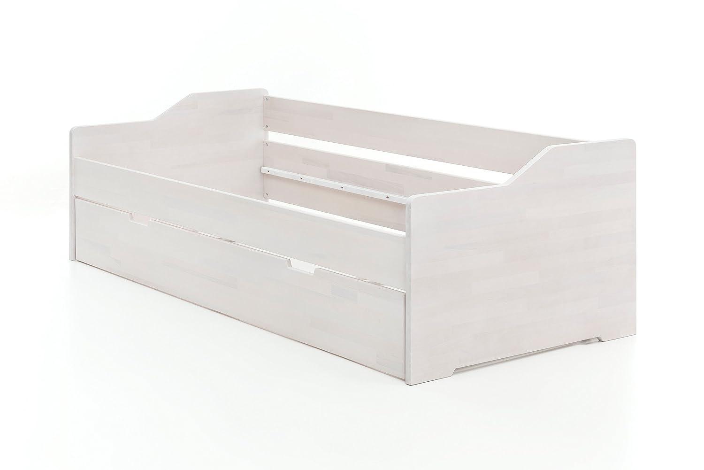 Massivholzbett Doppelbett Bettgestell Kernbuche Massiv EDDI Weiß ...