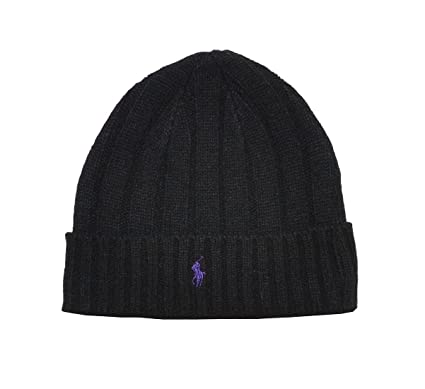 Ralph Lauren beanie hat Black - one size  Amazon.co.uk  Clothing 6b15e745d30
