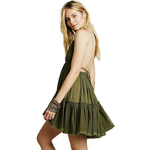 ee88a4605680d ForeMode Summer Deep V Neck Bohemian Women Mini Short Dress Backless Beach  Dresses Holiday Boho Dress