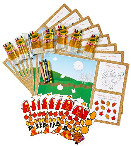 Thanksgiving Coloring Placemats for Kids Bundle - 3 Items: 8 Paper Placemats, 8 Sticker Sheets, 8 Packages of Crayons (4-Count each)
