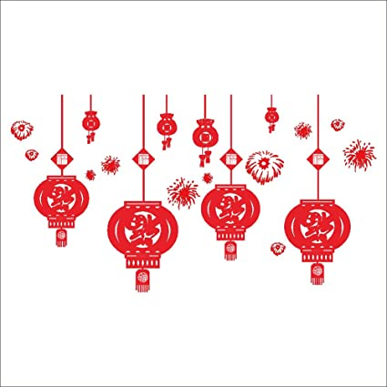 raylinedo merry christmas the red color chinese traditional festival decoration new year lanterns removable wall stickers