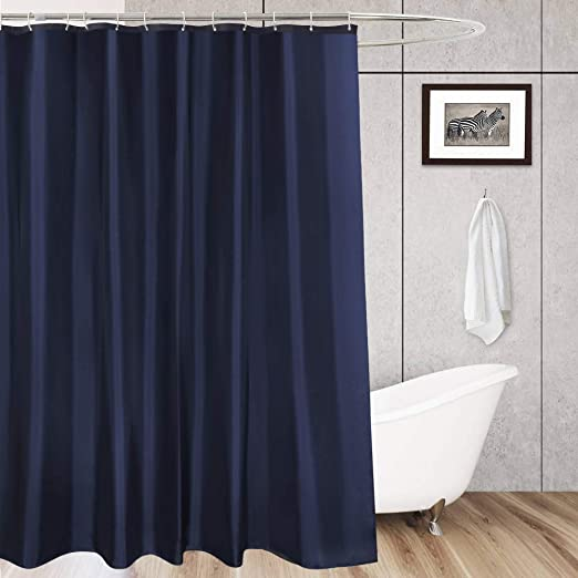Water Repellent Heavy Duty AooHome 36x72 Inch Shower Curtain Weighted Hem Stall Size Fabric Weave Waffle Bathroom Curtain with Hooks White