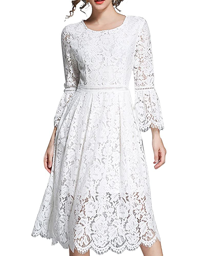 Aofur Elegant Women Floral Lace Flare Sleeve Slim Fit Summer Dress Casual Evening Party Dress Wedding Bridesmaid Dress AO3283