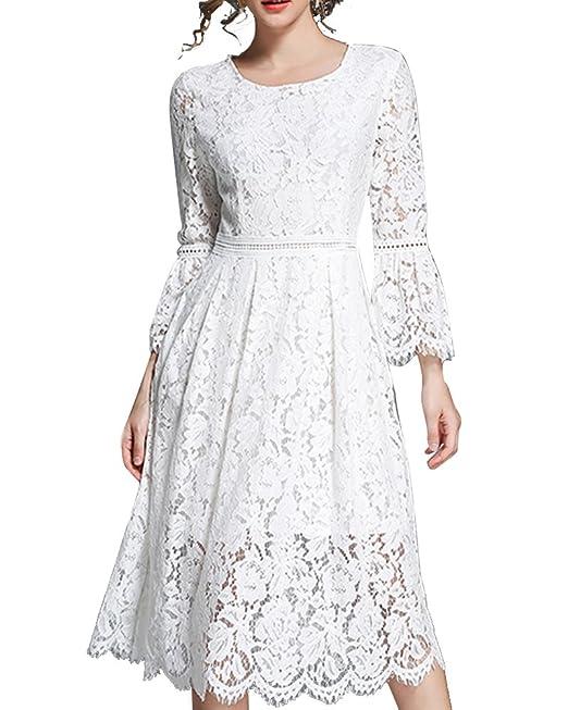 Aofur Donna Elegante Vestiti da Matrimonio Pizzo Abito Vestito Campana  manica Formale Banchetto Sera A- 19460caa07c