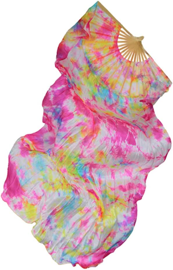 IPOTCH Paire de Eventail /à Main Oriental Belly Danse du Ventre Imitation Soie Fan Veil D/écor Accs Multicolore Rose