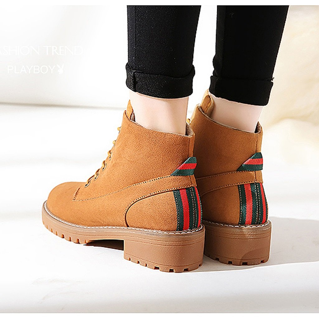Women 's Martin boots autumn students personality fashion short boots ( Color : Brown , Size : US:6UK:5EUR:37 ) by LI SHI XIANG SHOP (Image #4)