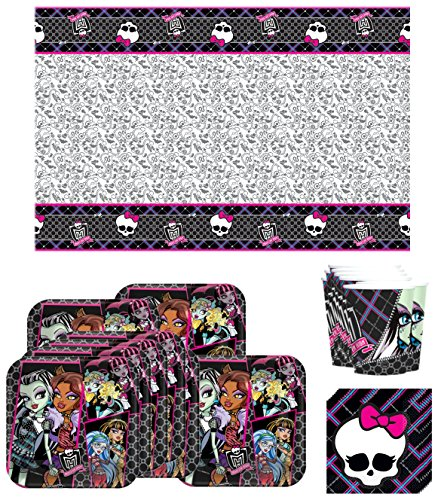 Paper Tablecover Monster High (Monster High Birthday Party Supplies Bundle Kit Including Plates, Cups, Napkins and Table cover - 8)