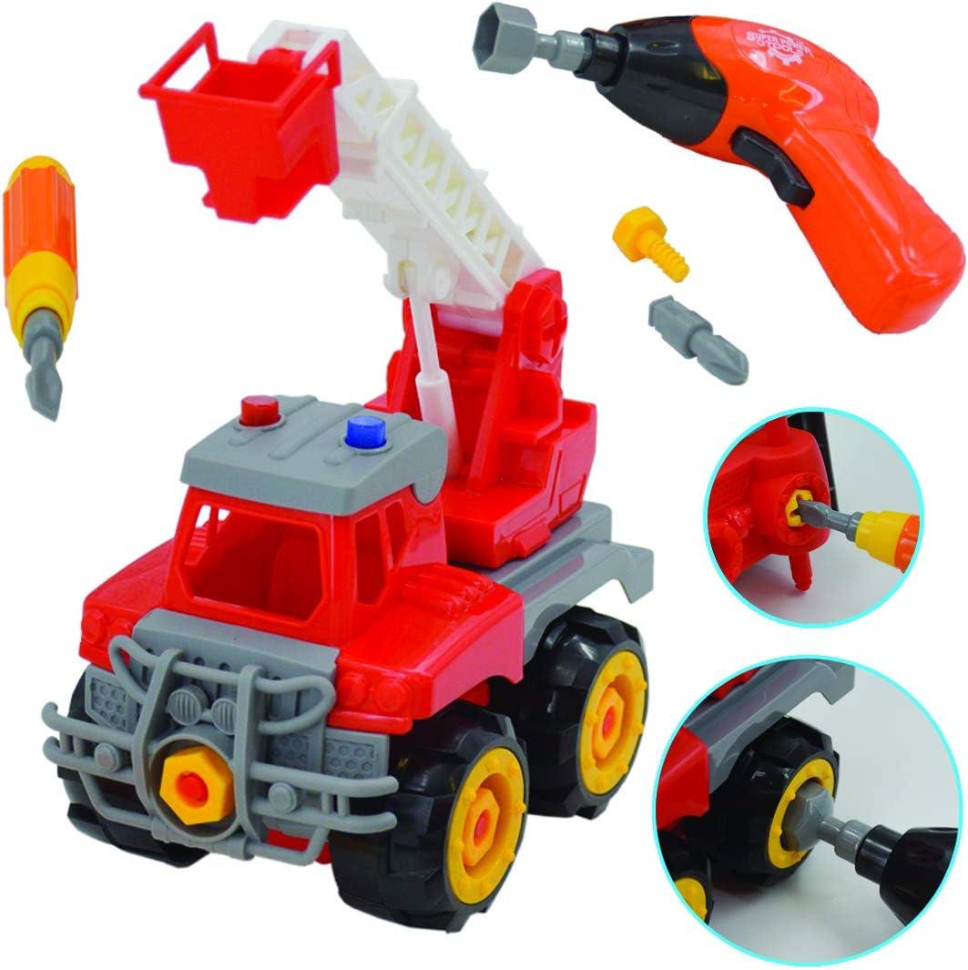 deAO Camión de Construcción para Montar y Desmontar Vehículo Puzle Incluye Camión Destornillador y Taladro Eléctrico (Camión Grúa)