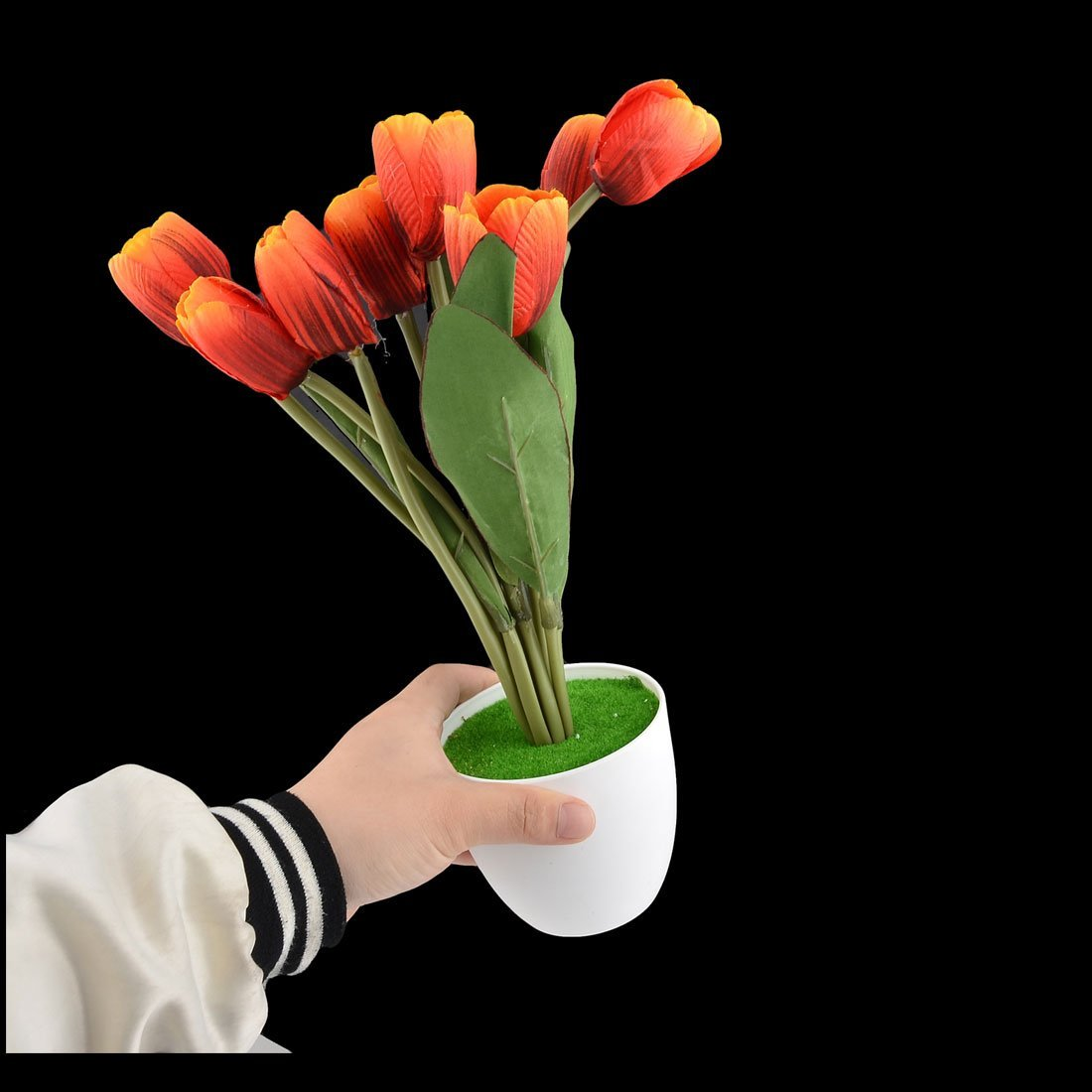 Amazon.com: eDealMax plástico de escritorio DIY de la decoración de Los tulipanes de la simulación Artificial Rojo Flor: Home & Kitchen