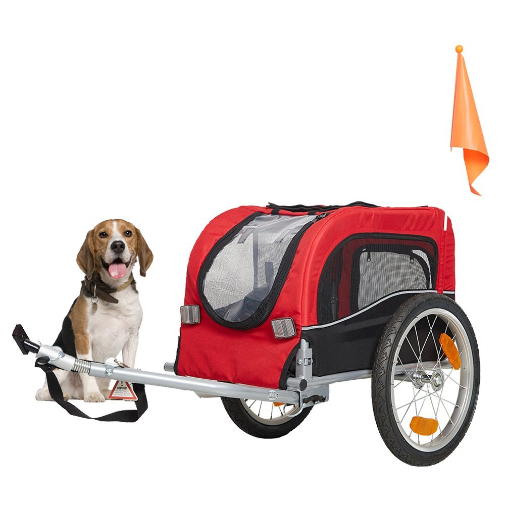 KARMAS PRODUCT Pet Dog Cat Bicycle Trailer Doggie Kitten Bike Carrier for Outdoor Traveling Jogging Cycling - Red