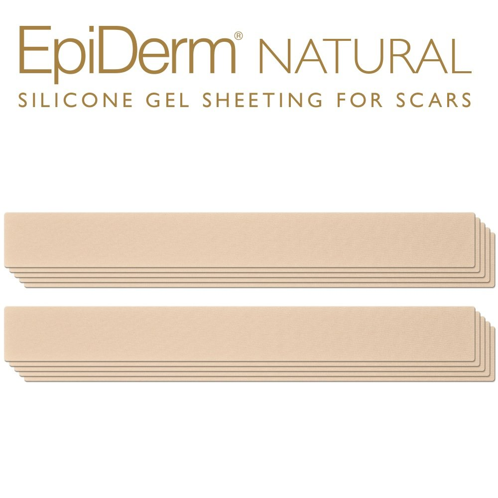 Epi-Derm Long Strip - 1.4 x 11.5 in - (5 Pair) (Natural) Silicone Scar Sheets from Biodermis by Epi-Derm