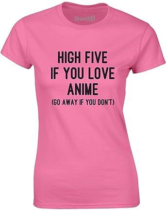 High Five if You Love Anime, Gedruckt Frauen T-Shirt - Azalee/Schwarz