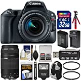 Canon EOS Rebel SL2 Wi-Fi Digital SLR Camera & 18-55mm is STM (Black) + 75-300mm III Lens + 32GB Card + Backpack + Flash + Battery & Charger + Tripod Kit