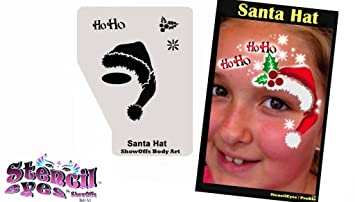 Christmas Face Paint.Christmas Face Painting Stencil Stencileyes Profile Santa Hat
