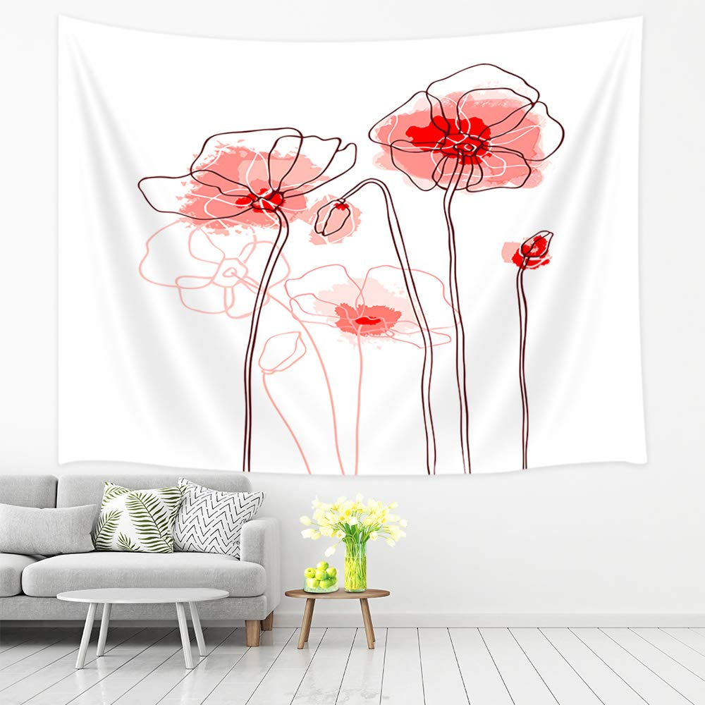 Miraculous Amazon Com Jawo Flower Tapestry Red Poppies On A White Gmtry Best Dining Table And Chair Ideas Images Gmtryco