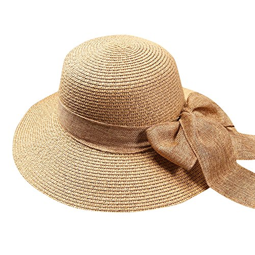 iShine Holiday Travel Women Big Bowknot Fashion Floppy Foldable Korean Style Large Wide Beach Sun Straw Hat Cap UPF - Size Inch Hat Head 24