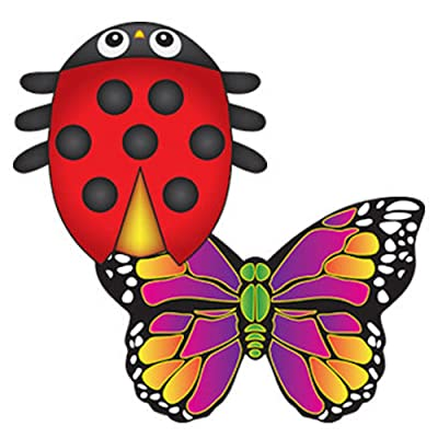 MicroKite 2 Pack, set of 2 Mini Mylar Kites, LadyBug and Butterfly: Toys & Games