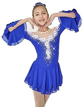 Heart&M Vestido de Patinaje artístico para niñas, Leotardos de espectáculos de Danza Sobre Hielo,