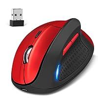 KINGTOP Kabellos Vertical Mouse Dual Mode Wired und 2.4G Wireless wiederaufladbare Ergonomische Vertikalmaus 4800DPI 5 Taste ROT