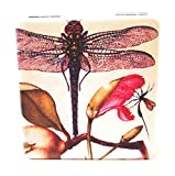 Value Arts French Vintage Dragonfly Print Purse Compact Travel Makeup Mirror and Magnification, 2.375 Inches Square